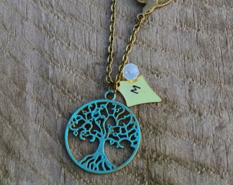 Personalized necklace, personalized tree necklace, green tree of life necklace with bird, personalized jewelry, tree jewelry