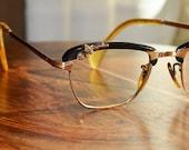Vintage Rhinestone Black Cat Eyeglasses Rare Design 44/18 Gold Filled True Vintage Free Priority Shipping