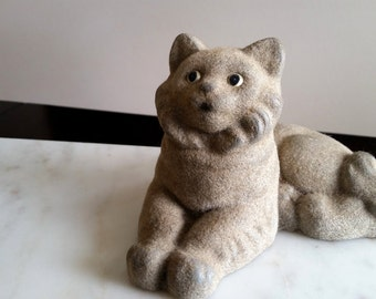 Vintage Flocked Plaster Cat Figurine 1940s  / Gray Resting Cat with Painted eyes / Baron, Duke and King Original Inc