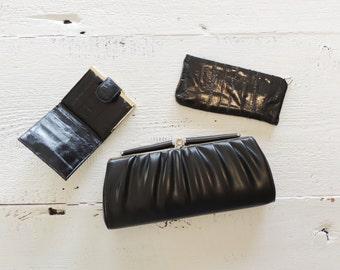 Retro Evening Clutch/Wallet/Change Purse/Eye Glasses Case/3 Piece Set/Mod/Black/Evening Accessories/New Old Stock/Ladies Mid Century 1960s