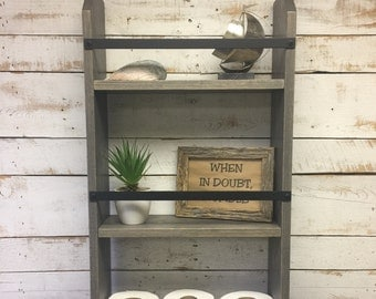 Large Farmhouse shelf- Farmhouse Style Decor- Farmhouse Furniture - Farmhouse Decor -Rustic Decor- Ladder- Ladder Shelf