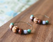 wood and czech glass hoop earrings - medium hoop - periwinkle, turquoise
