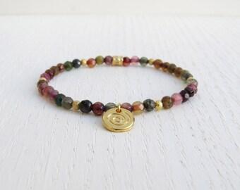 Gold spiral bracelet, Gold coin bracelet, Multi color bracelet, Agate bracelet