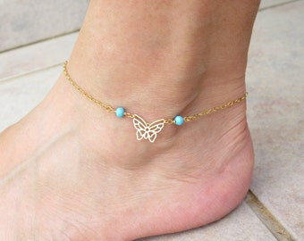 Gold butterfly anklet, Gold turquoise anklet