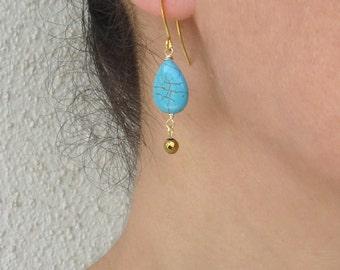 Turquoise gold earrings, Hematite earrings, Turquoise drop earrings