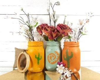 Southwestern Decor, Painted Mason Jars, Cactus Home Decor, Decorated Mason Jars, Cactus Decor, Colorful Home Decor, Yellow Mason Jar