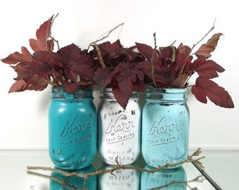 Painted Mason Jars, Spring Decorations, Distressed Mason Jars, Table Centerpiece, Mason Jar Decor, Spring Decor, Bridal Shower Decor