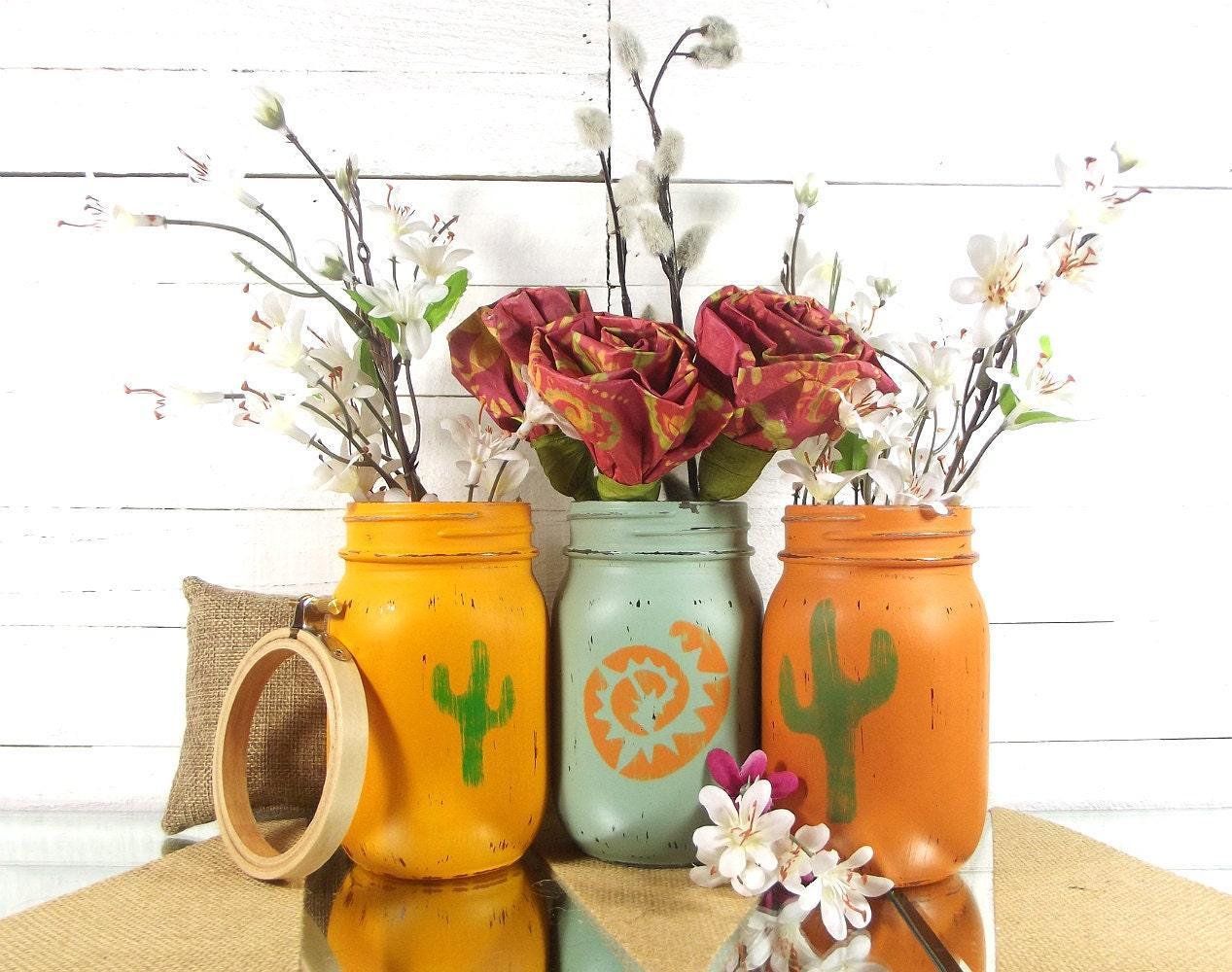 southwestern decor painted mason jars cactus home decor. Black Bedroom Furniture Sets. Home Design Ideas