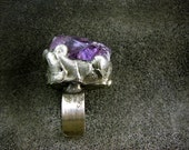 Raw Amethyst ring by AMW • Adjustable WIDE Sterling SILVER band ring