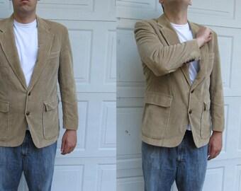 1970s Vintage mens tan corduroy blazer with suede elbow patches, elbow patch blazer