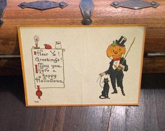 Halloween Antique Postcard, UNUSED, c 1912, Pumpkin Man in Tuxedo, Jack O Lantern, Black Cat, Vintage Postcard, Bergman
