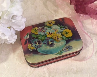 So Pretty Vintage Tin Box, Blue Bird, Toffee Tin, Floral Flowers Vase, Pink Purple, Mid Century, c 1950s, Decorative Tin Box