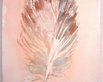 Watercolor feather painting/ Minimalist art/ Fantasy feather illustration/ Small watercolors 7,5'x11'/ Ocher gray painting, Art lovers gifts