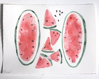 Watermelon Watercolor Painting/ Fruits illustration/ Watercolor original- Red and Green Summer Fruit Still Life/ Fruits wall art