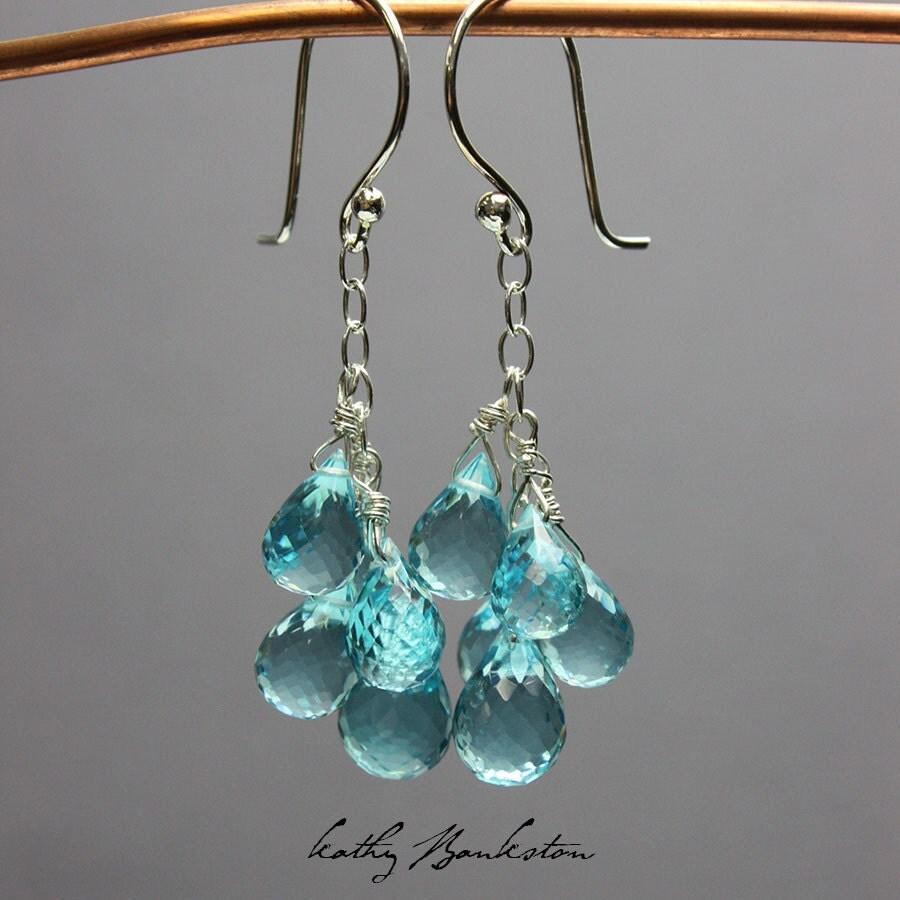 sky blue quartz cluster earrings sparkly blue earrings