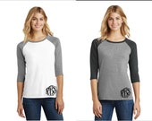 Monogrammed Perfect Fit 3/4 Sleeve Raglan Tees-Available in XSmall-2Xlarge-Baseball Tee, Monogrammed Shirt, Monogrammed Raglan Shirt
