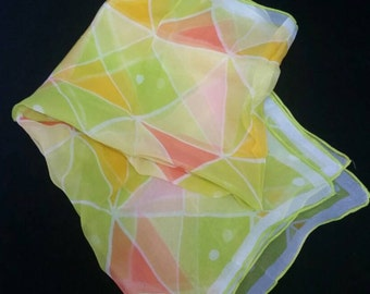 "Vintage SHEER 1960 - 70's Rectangle 41-1/2"" Yellow Green Pink Orange White with Triangles and Small Circles Geometric Scarf"