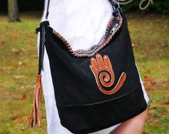 Black Suede Leather Shoulder Bag, Bag, Black Leather Bag, Leather Bag, Tribal Bag, Ethnic Bag, Shoulder Bag, Hippie Bag, Black Suede Bag