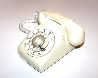 ROTARY PHONE Western Electric Rotary Phone in White Creme Color in Great Working Condition
