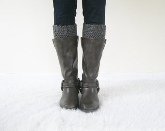 Wool Boot Cuffs | Boot Spats | Knit Boot Toppers Merino Wool Ankle Warmers | Crochet Boot Socks