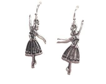 Ballerina earrings ballet pointe barre dance dancing tutu silver plated dancer girls FREE UK postage