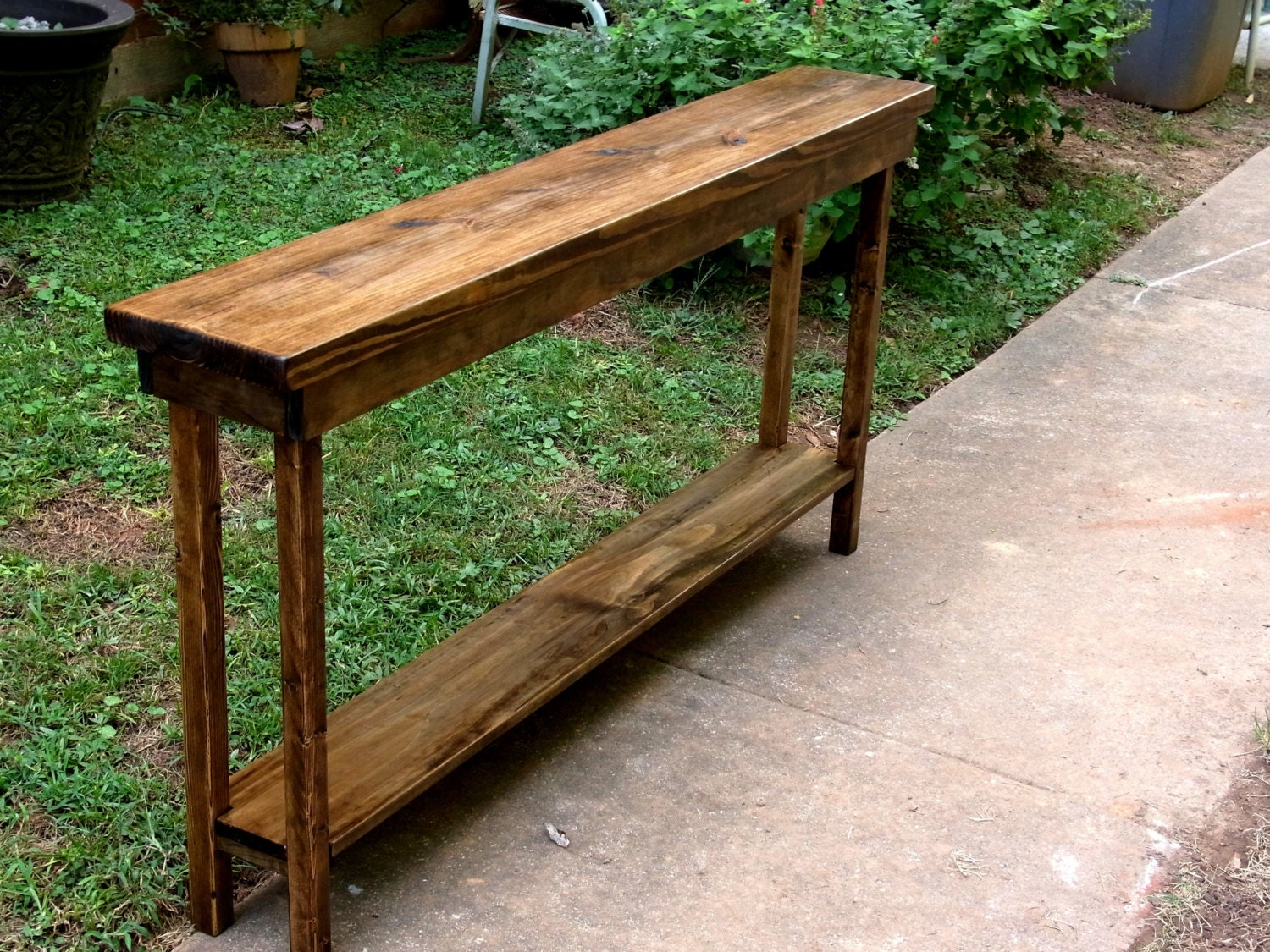 Rustic Narrow Foyer Table : Rustic console table extra narrow sofa entryway hallway