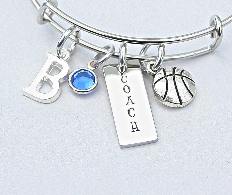 Basketball Charm Bracelet: Basketball COACH Bangle Basketball Charm Bracelet