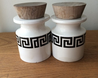 Set of 2 Portmeirion Greek Key Jars with Wooden Lids