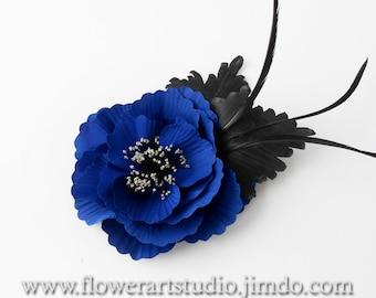 Royal Blue Silk Flower Brooch, Blue Bridal Brooch, Bridesmaid Brooch, Cobalt Blue Flower Brooch, Mother of a Bride Brooch, Gift for Woman.