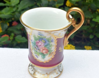 Vintage Limoges Cup - Burgundy Gold, Floral, Hand Painted, E G - Rare, Collectible!