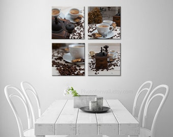 Large wall art, Kitchen decor with set of coffee art print in canvas art, Kitchen art, coffee decor, Kitchen wall, food photography