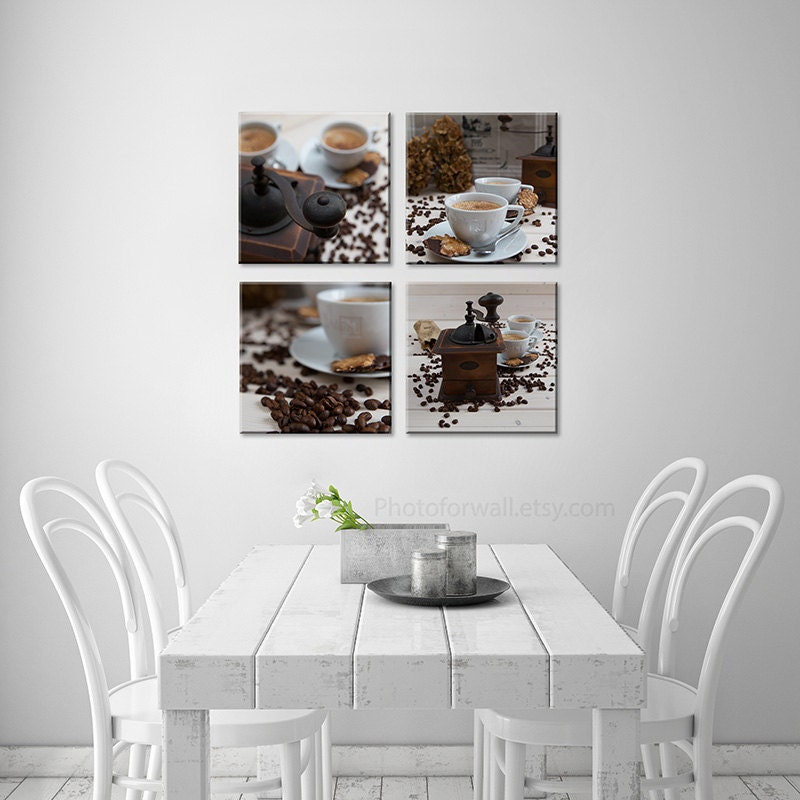 large wall kitchen decor with set of coffee print in