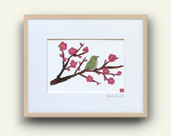 Japanese Bird Print, Bird Wall Art, Whimsical Bird Art, Green Bird Art, Ready To Frame