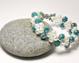 Beaded Bracelet Pearl Bracelet Woven Bracelet Green Peyote Bracelet Glass Bead Bracelet Beadwoven Bracelet Gift Handmade Fashion Jewelry