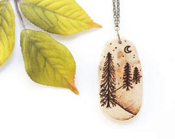 Wood Slice Necklace, Pine Forest Necklace, Wood Pendant, Woodburned Necklace, Pine Tree Necklace, Wood Necklace, Woodland Necklace