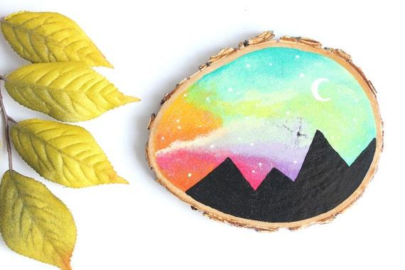 """Wood Slice Art, Small 3.25"""" - Rainbow Mountain Scene, Mini Wood Mountain Painting, Wood Painting, Wood Slice Art, Wood Slice Painting"""