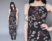 90s Grunge Dress Floral Print Maxi Dress Black Purple Ditsy Rose Print High Neck Sleeveless Goth Bodycon Fitted Slinky Witchy Tank Dress