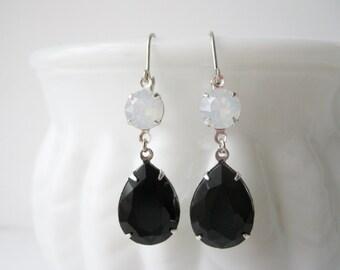 Black and White Opal Rhinestone Drop Earrings Old Hollywood Glam Elegant Statement Earrings Bridesmaid Jewelry Vintage Style Noir Earrings
