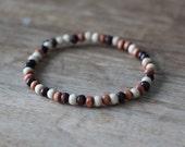 Men's Beaded Bracelet Small Mulit-Colored Wood Beads