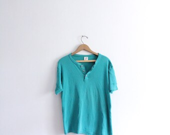 Teal Green 90s Button Tee
