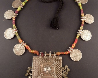 Rajasthan old silver rupees coins and hindu amulets necklace, indian jewelry, necklace from India, Rajasthan hindu amulet
