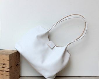 White leather shoulder bag, leather bag, leather handbag, FREE SHIPPING