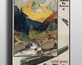Vintage Travel Poster National Park Poster USA Vintage Americana Canada Adventure Art Print Explore Train Camping Rustic Decor Wall Art