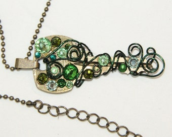 Vingage Key Necklace with Green Swarovski Crystals