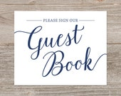 Navy Guest Book Sign Printable // Please Sign Our Guestbook Signs // Printable Navy Wedding Decor, Instant Download