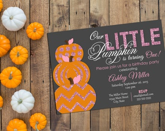 Little Pumpkin Birthday Party Invitation - First Birthday Invitation - Glitter - Pink and Orange - Printable