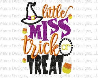 Embroidered Little Miss Trick or Treat Halloween bodysuit/shirt