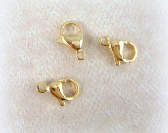 13mm Lobster Clasps, Stainless Steel - Lobster Claw Clasp - Gold Plated Stainless Steel (R050-13x8) - 13mmx8mm - Qty. 6