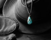 Vintage Native American Blue Turquoise Necklace in Sterling Silver // Vivid Large Blue Turquoise Pendant, Vintage Turquoise Jewelry
