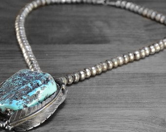 Large Vintage Blue Turquoise Necklace >>> Statement Gemstone Pendant, Native American Made, Sterling Silver Statement Necklace